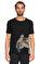 St. Nian Baskı Desen Siyah T-Shirt #1