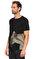 St. Nian Baskı Desen Siyah T-Shirt #4