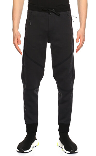 Isaora Paçası Lastikli Siyah Pantolon