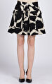 DKNY Desenli Mini Balon Siyah Beyaz Etek