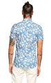 Ted Baker Çiçek Desenli Kısa Kollu Mavi Gömlek