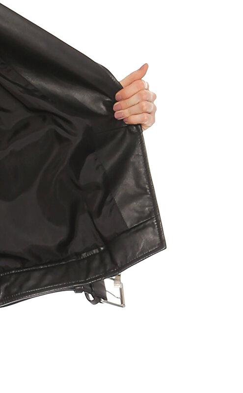 Boutique Moschino Baskı Desen Siyah Deri Ceket