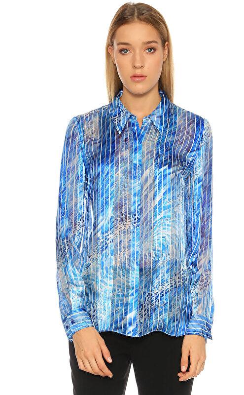 Elie Tahari Çizgili Mavi Gömlek
