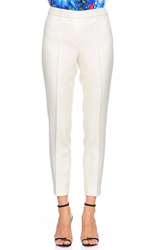 Elie Tahari Düz Desen Beyaz Pantolon