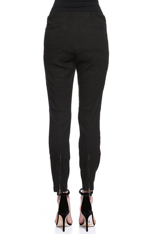 DKNY Paçası Fermuarlı Siyah Pantolon
