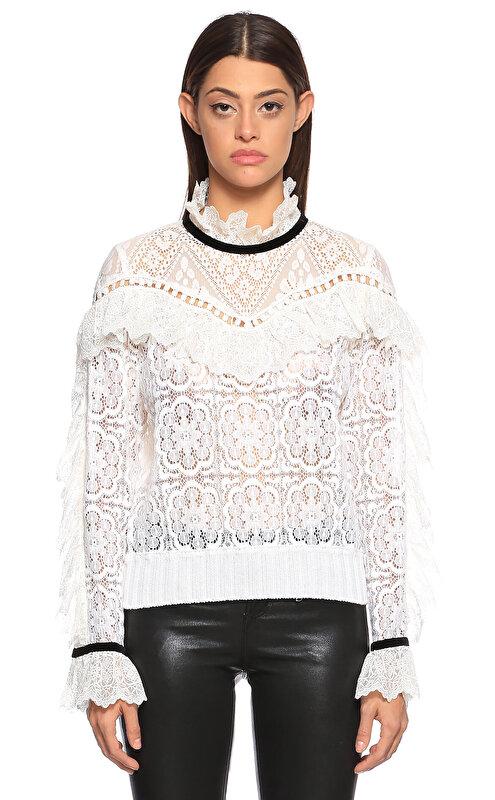 Sea Newyork Dantelli Beyaz Bluz