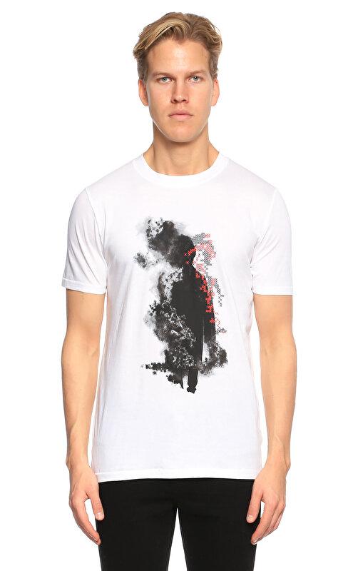 Hugo Boss Hugo Baskı Desen Beyaz T-Shirt