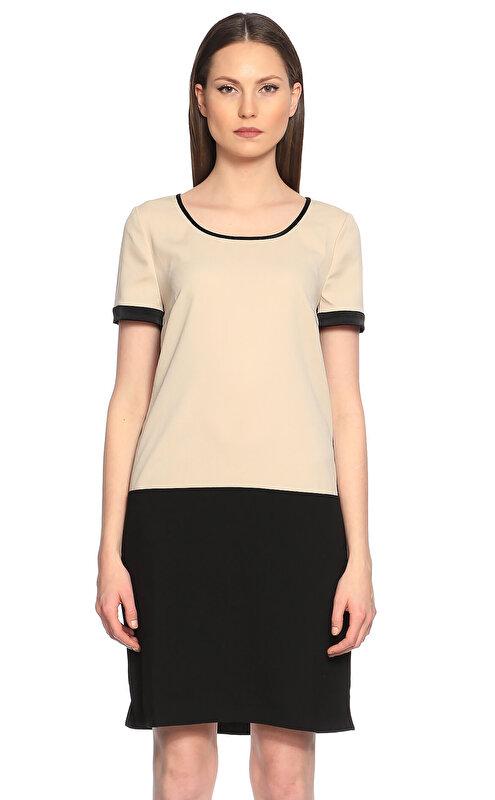 DKNY Siyah-Krem Rengi Elbise