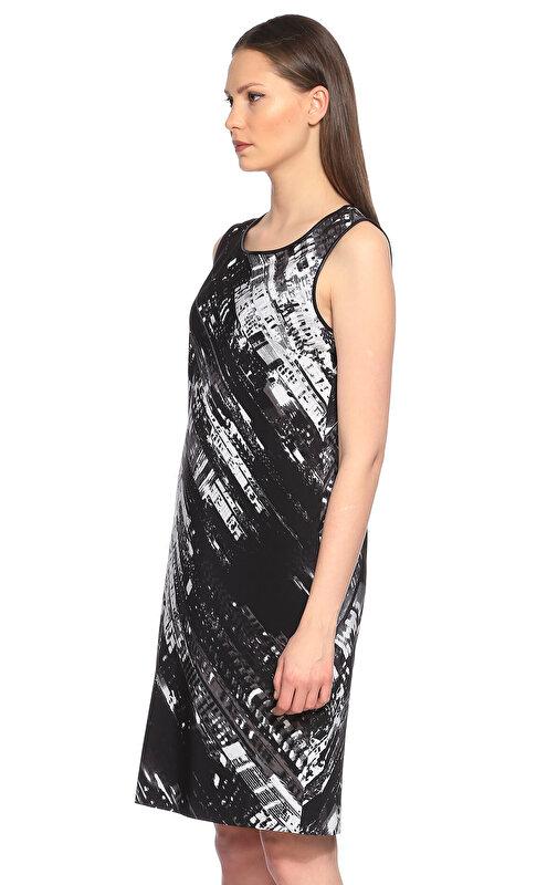 DKNY Karma Desen Siyah Elbise