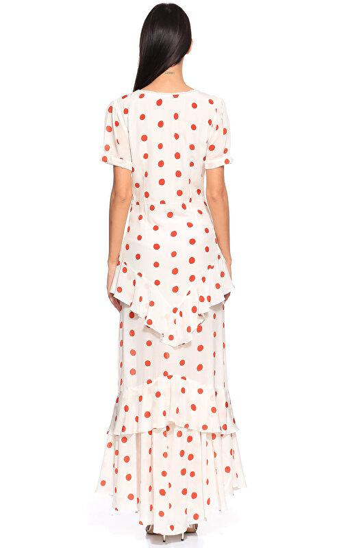 De La Vali Puantiyeli Uzun Elbise