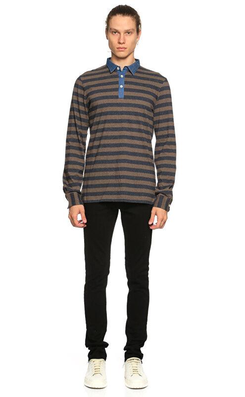 Eleventy Çizgili Polo Mavi T-Shirt